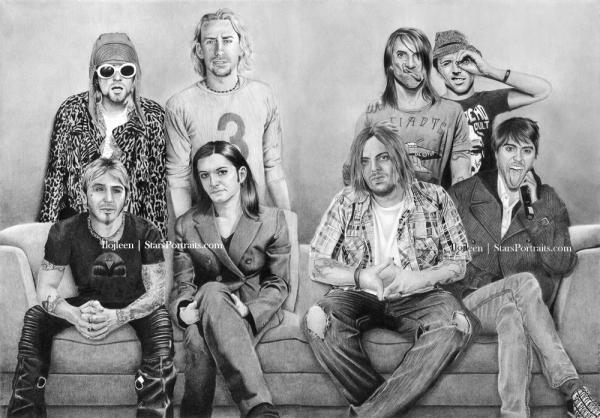 Chad Kroeger, Kurt Cobain, Benjamin Kowalewicz, Shaun Morgan, Anthony Kiedis, Brian Molko, Sully Erna, Jared Leto by Ilojleen